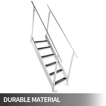 Aluminum Dock Ladder Boat Dock Ladder 6 Steps Removable Boat Ladder, Dock Stairs