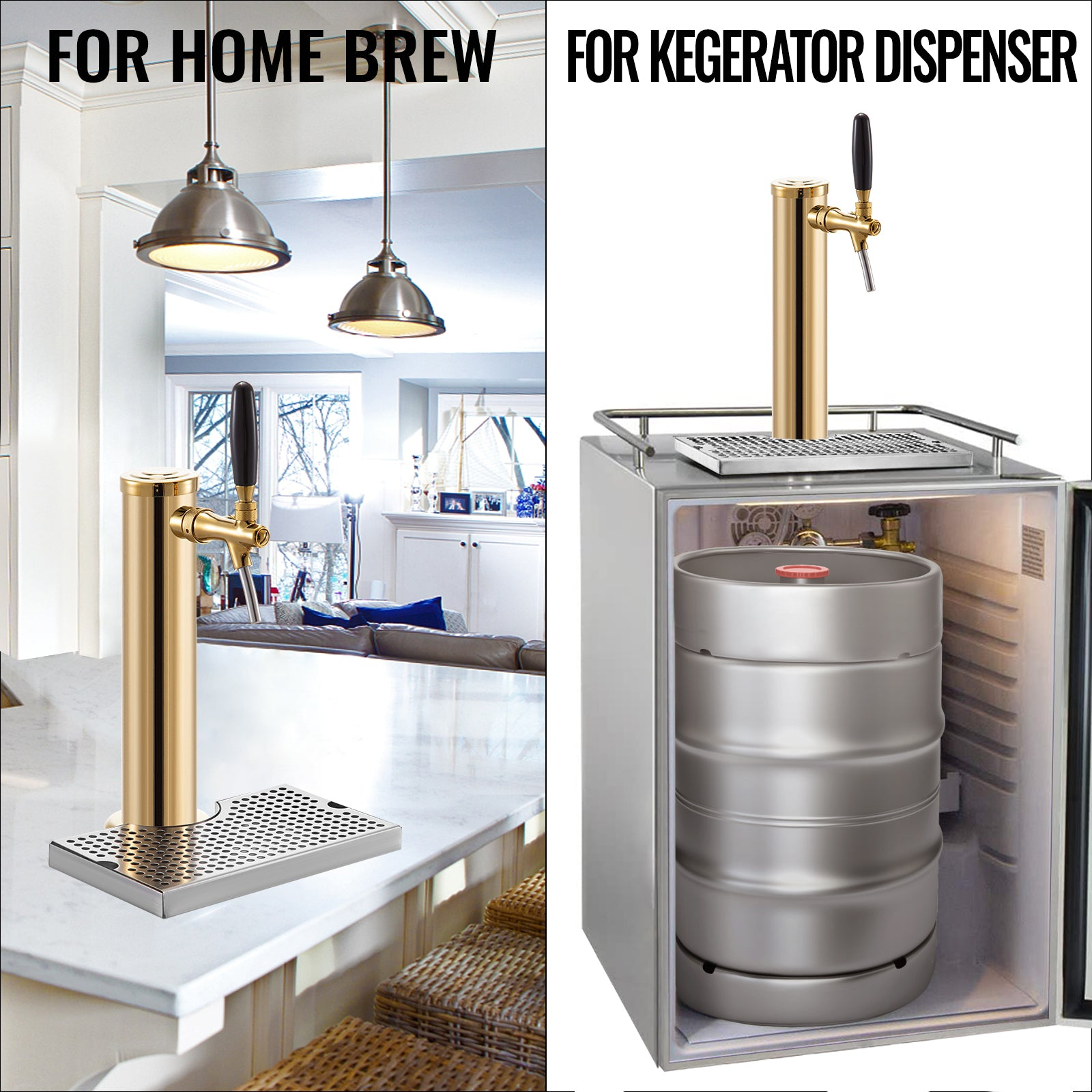 Vevor Beer Tower Kegerator Tower Pvd Coated Keg Tower 1 Adjustable Tap Drip Tray