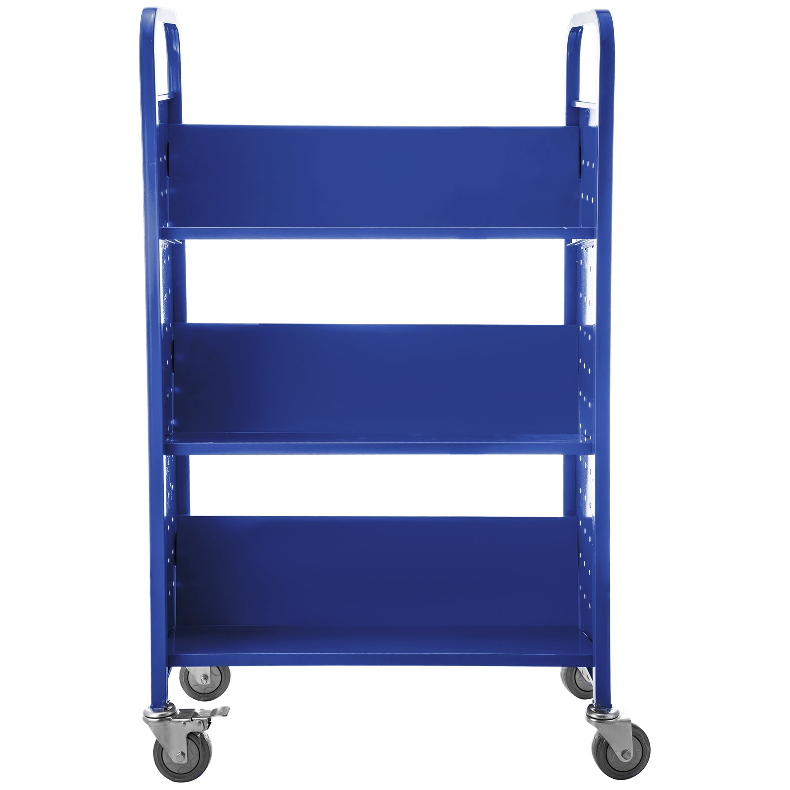 Book Cart Library Cart 200lb Capacity With V-shaped Shelves In Blue