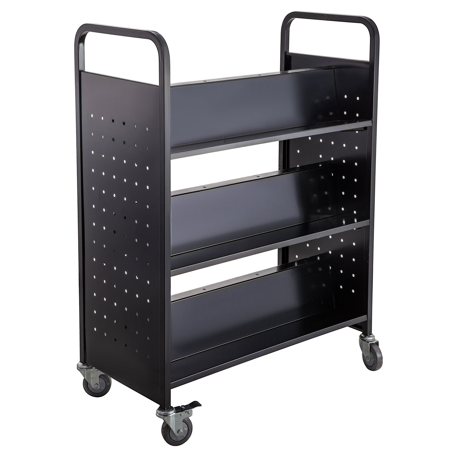 Book Cart Library Cart 200lb With Double Sided W Shaped Sloped Shelves Vevor Us