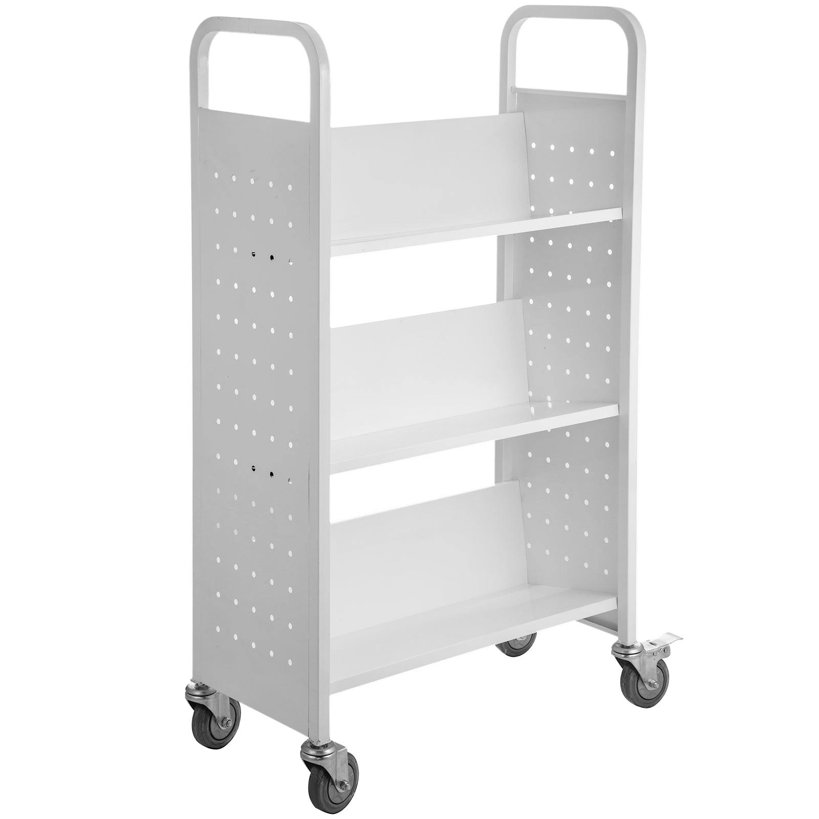 Book Cart Library Cart 200lb Capacity With V-shaped Shelves In White