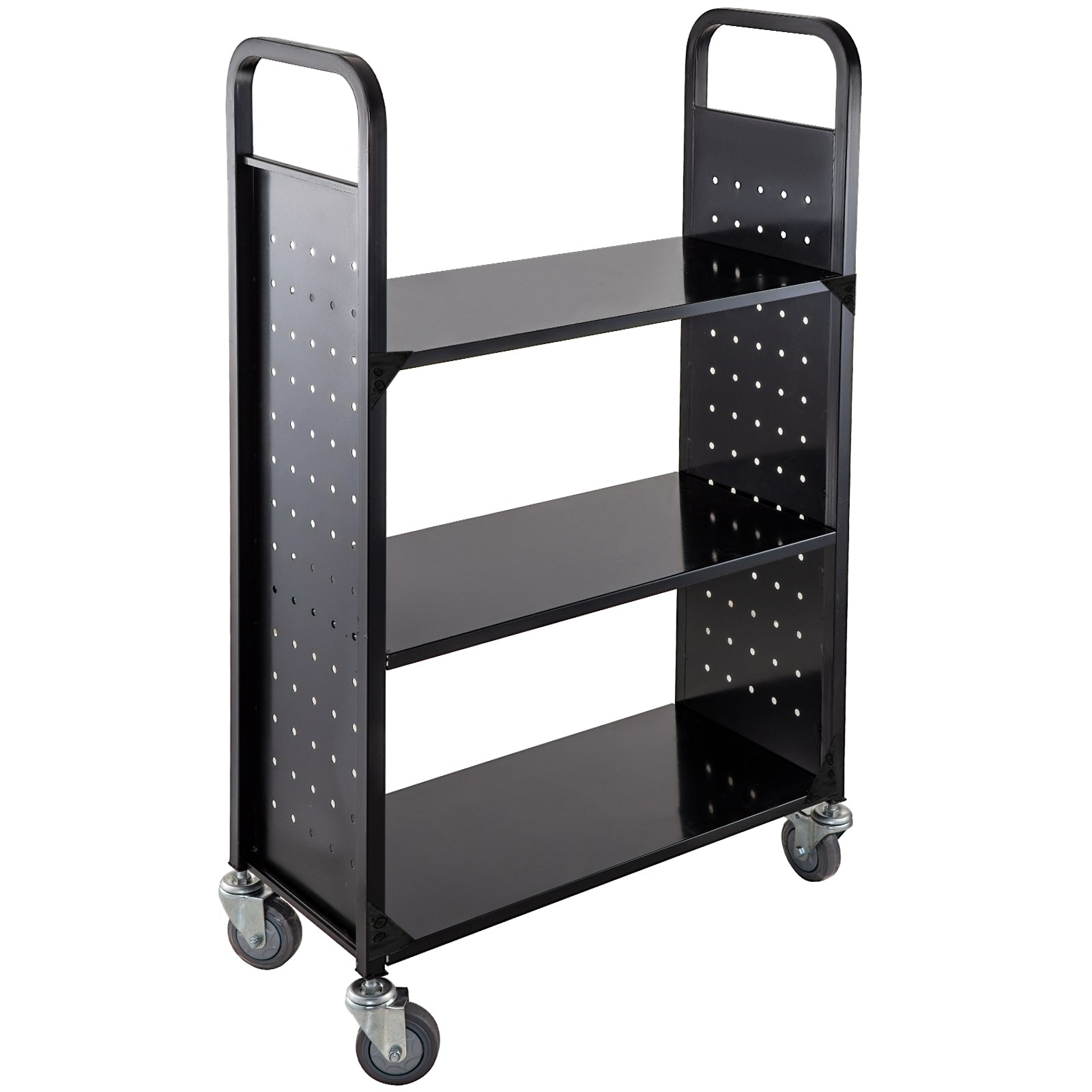 Book Cart Library Cart 200lbs Capacity W/ Flat Shelves In Black