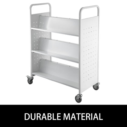 Book Cartlibrary Cart200lb With Double Sided W-shaped Sloped Shelves In White