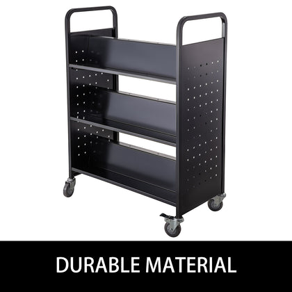 Book Cart Library Cart 200lb With Double Sided W-shaped Sloped Shelves In Black