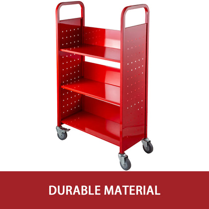 Book cart library cart 200lb Capacity With L-shaped Shelve In Red