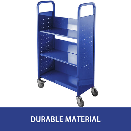 Book cart library cart 200lb Capacity With L-shaped Shelves In Blue