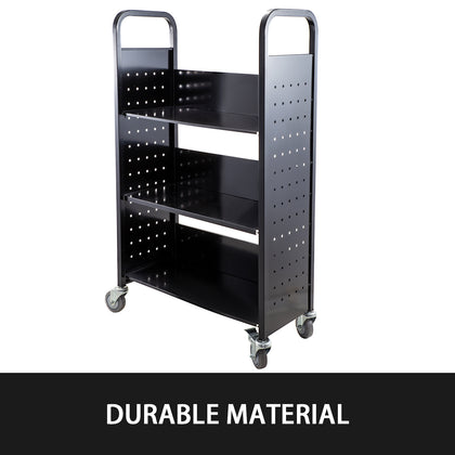 Book Cart Library Cart 200lb Capacity With L-shaped Shelves In Black