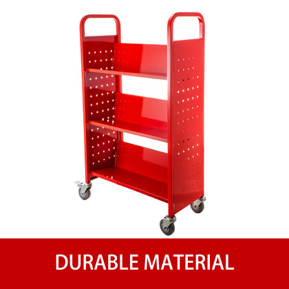 Book Cart Library Cart 200lb With Single Sided V-shaped Sloped Shelves In Red