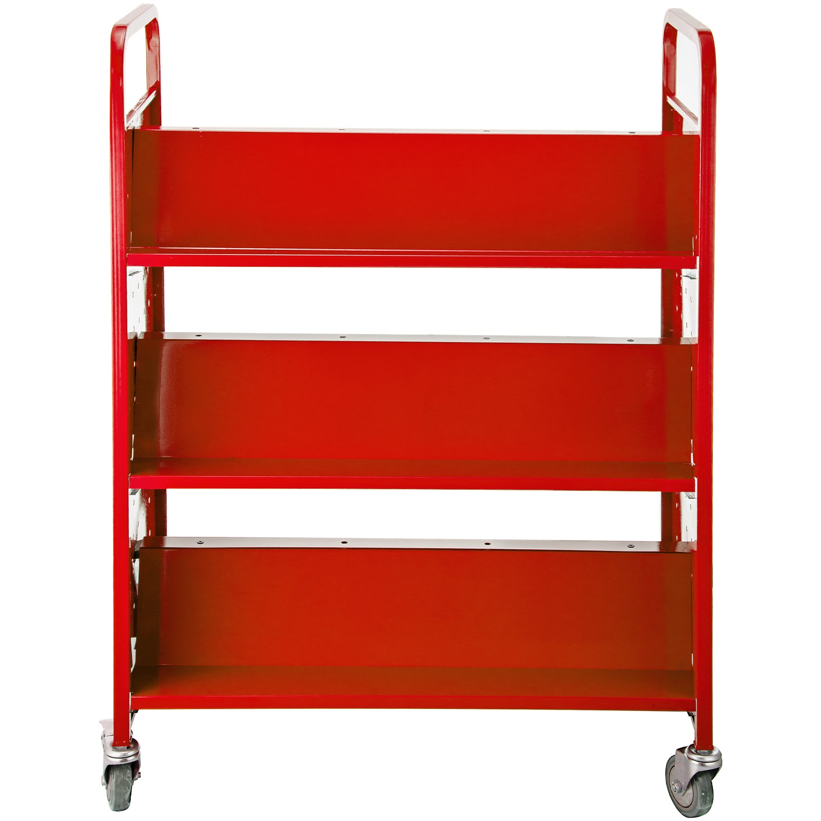 Book Cartlibrary Cart200lb With Double Sided W-shaped Sloped Shelves In Red