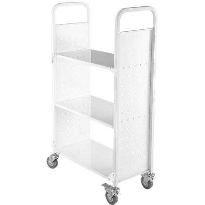 Book Cart Library Cart 200lbs Capacity W/ Flat Shelves In White