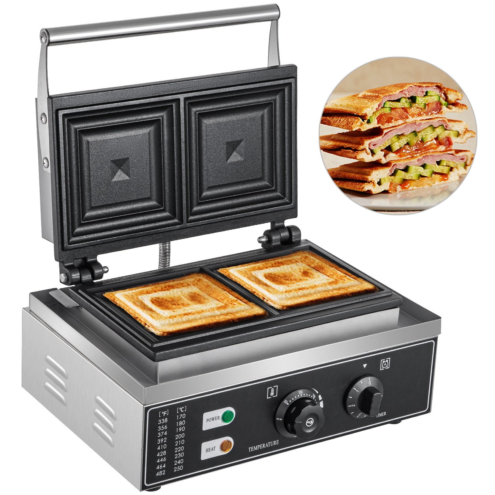 Commercial Sandwich Maker Panini Press Grill Cheese French Toast Waffle Maker