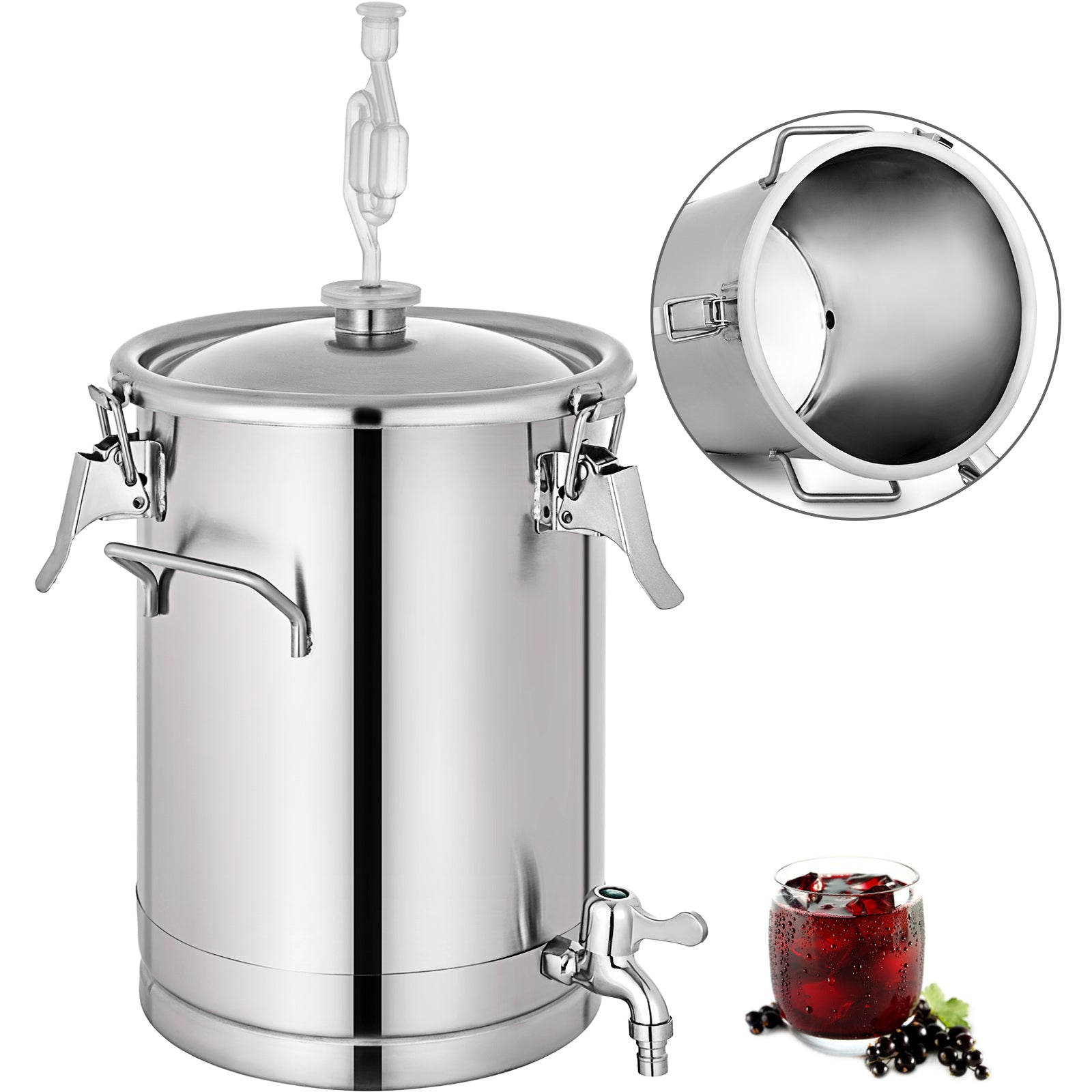7.5 Gallon Stainless Steel Brew Fermenter Bucket Homebrew Beer Brewing Bucket