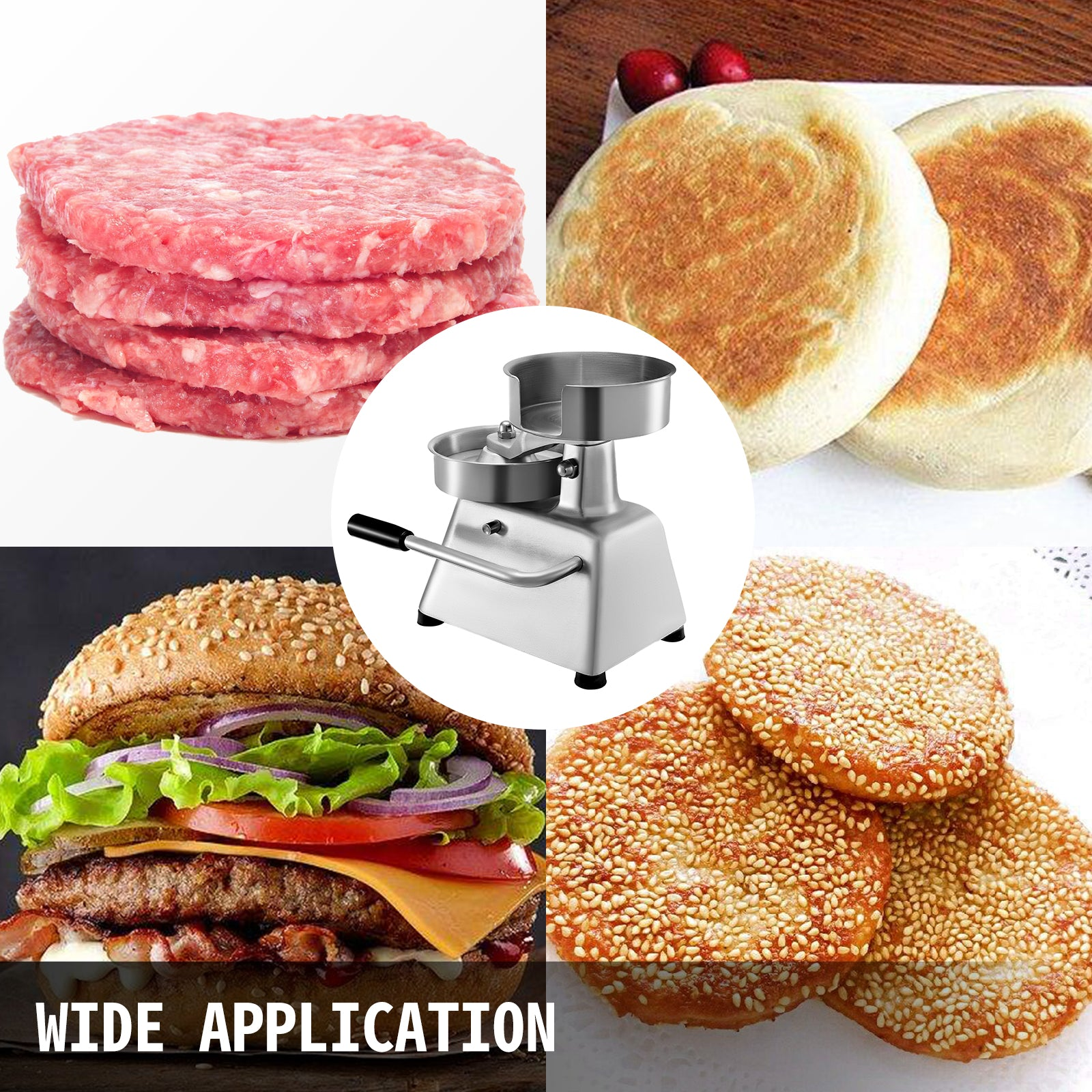 "Burger Press Patty Maker Hamburger Stick Bbq Mold Stuffed Meat Grill 4"" Diameter"