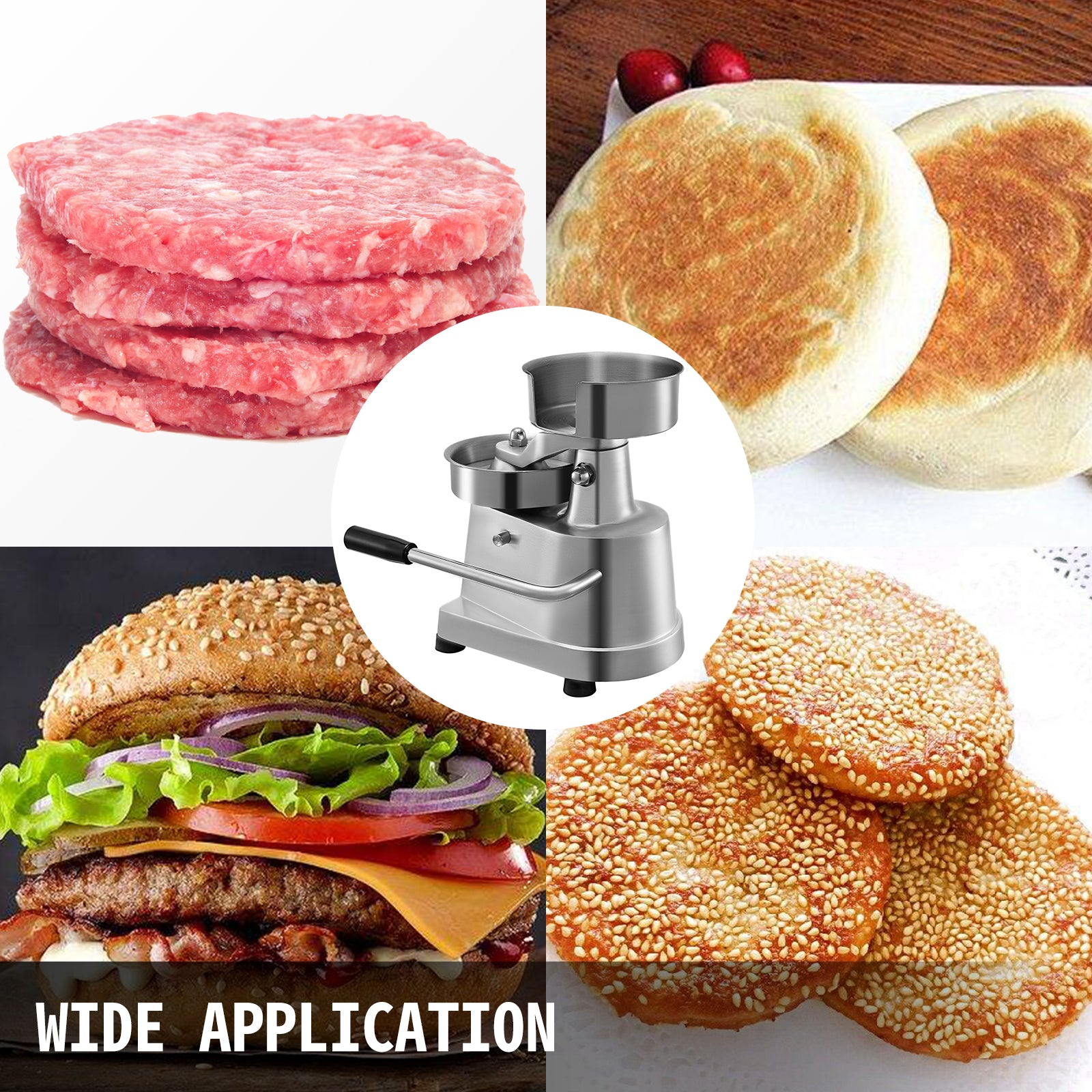 "Burger Press Patty Maker Hamburger Stick Bbq Mold Stuffed Meat Grill 5"" Diameter"