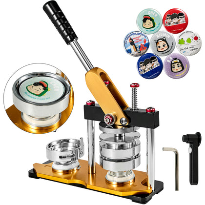 75mm 3'' Badge Button Maker Machine + 100 Buttons Circle Badge Punch Press