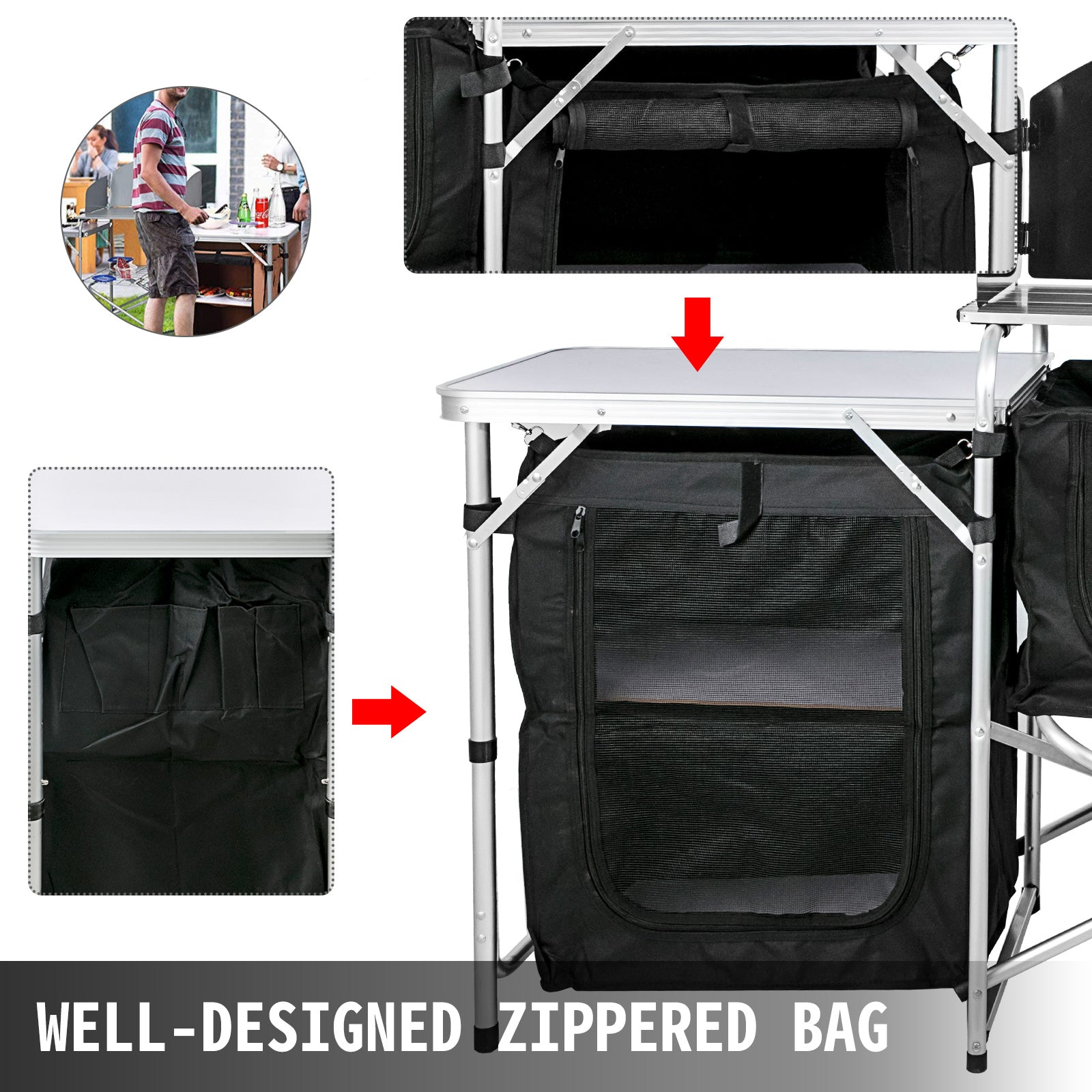 Camping Outdoor Kitchen Camping Table 3 Zippered Bags Camping Kitchen Table