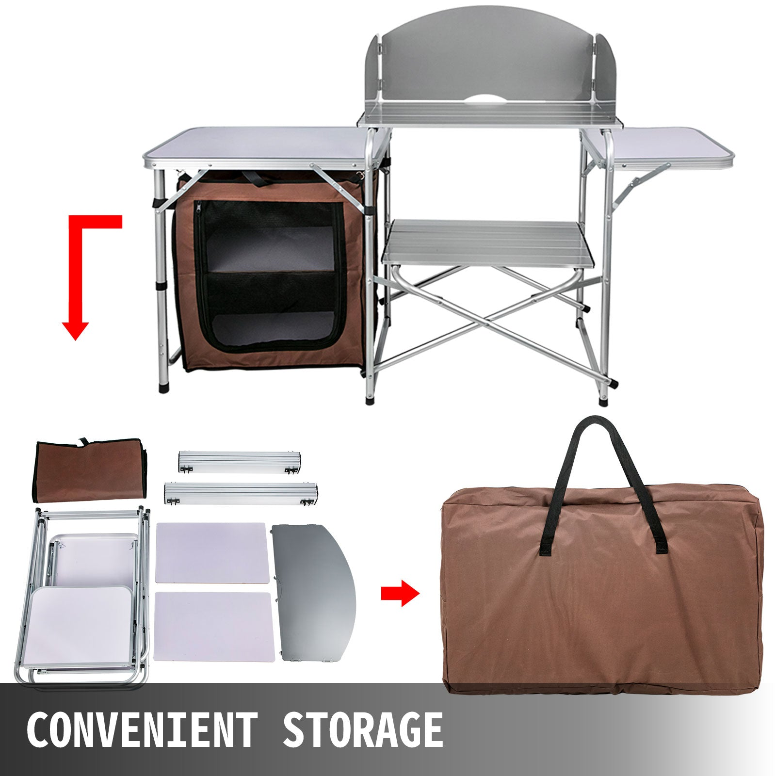 Camping Kitchen Table Picnic Cabinet Folding Cooking Storage Rack Portable Brown