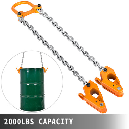 2000 Lbs Chain Drum Lifter Vertical Alloy Steel Head 30 & 55-gallon Plastic