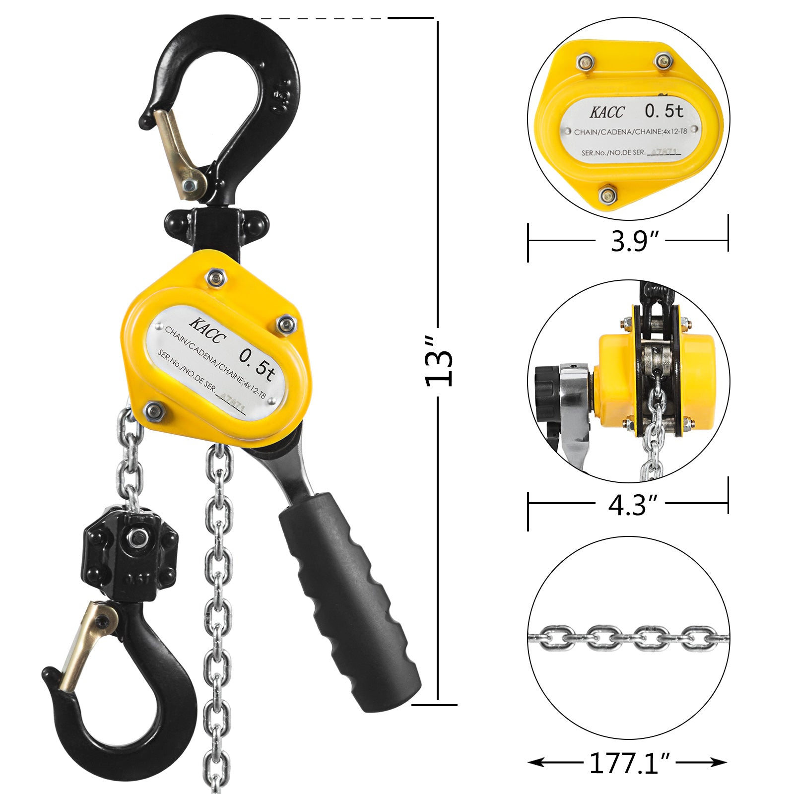 1100lbs 5ft Lever Chain Hoist Versatile Efficient Mines Professional Price