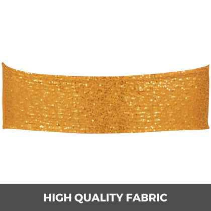 Chair Sashes Spandex Chair Sashes 100pcs Gold Elastic Sequin Bands For Wedding
