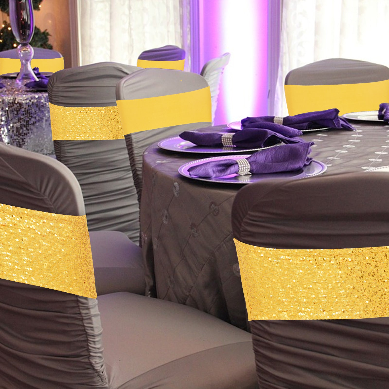 100pcs Spandex Stretch Chair Cover Sashes Band Light Gold Sequin Slider Wedding