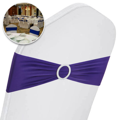 100pcs Spandex Stretch Chair Cover Bands Bow Sashes Wedding Party Decor Purple