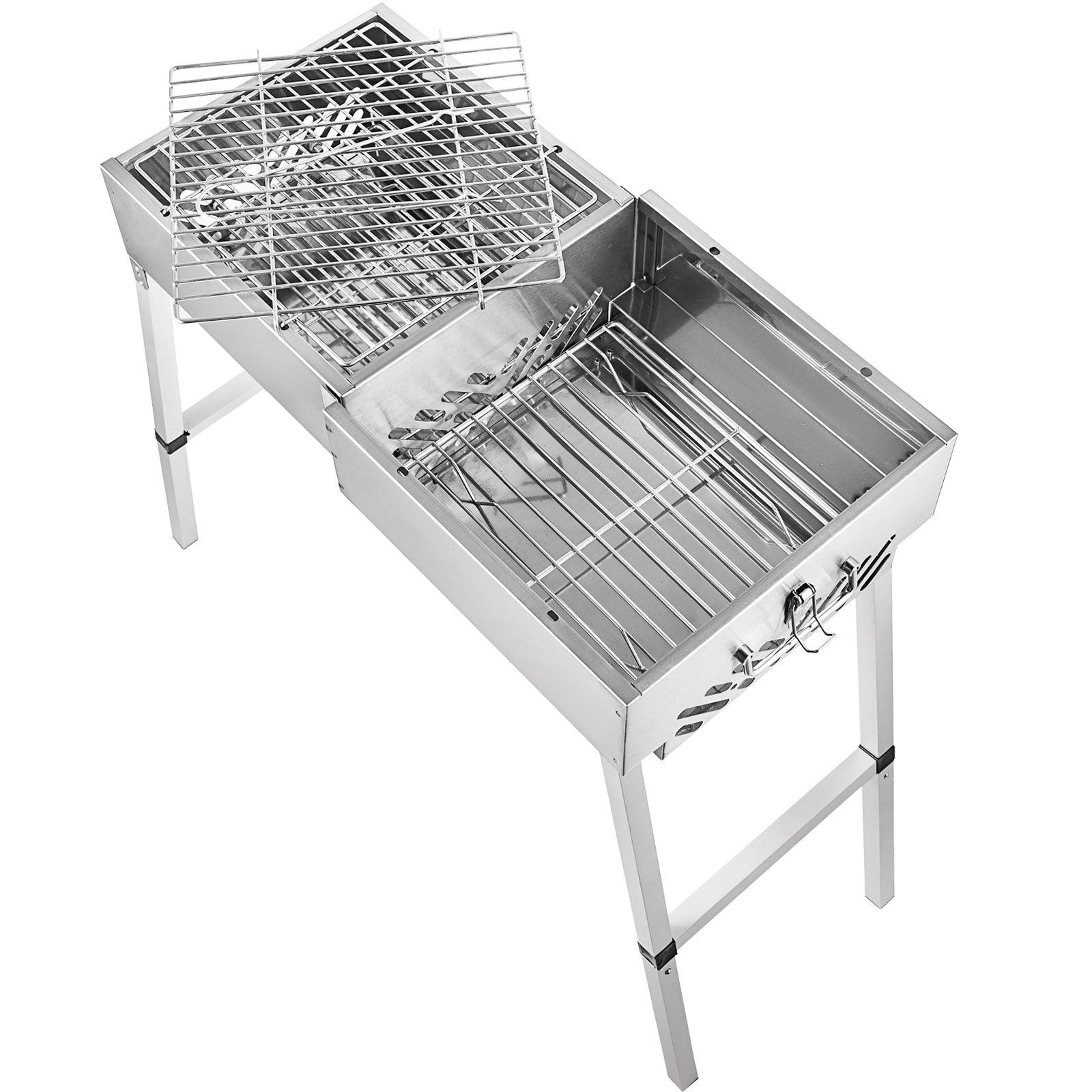 Bbq Charcoal Barbecue Grill 24'' Stainless Steel Folding Picnic Stove Camp
