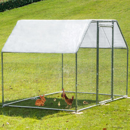 Vevor Metal Chicken Coop Walk-in Coop With Cover 9.5' X 6.5'large Cage Flat Roof