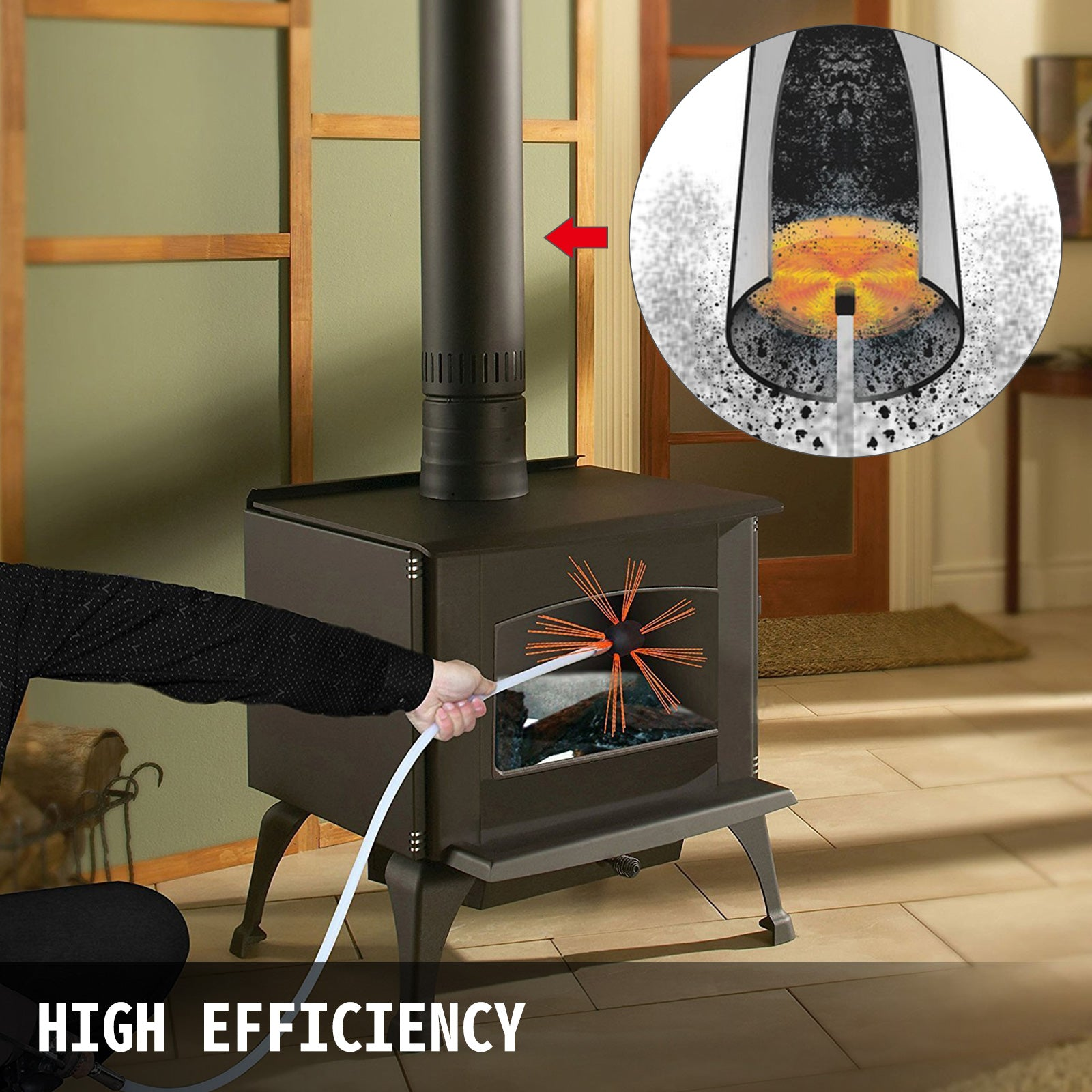 29.5ft Chimney Cleaner Sweep Kit Cleaning System Rotary Brush Rod Fireplace 9m