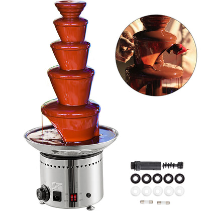 Commercial 5 Tiers Stainless Steel Hot Chocolate Fondue Fountain Party Wedding