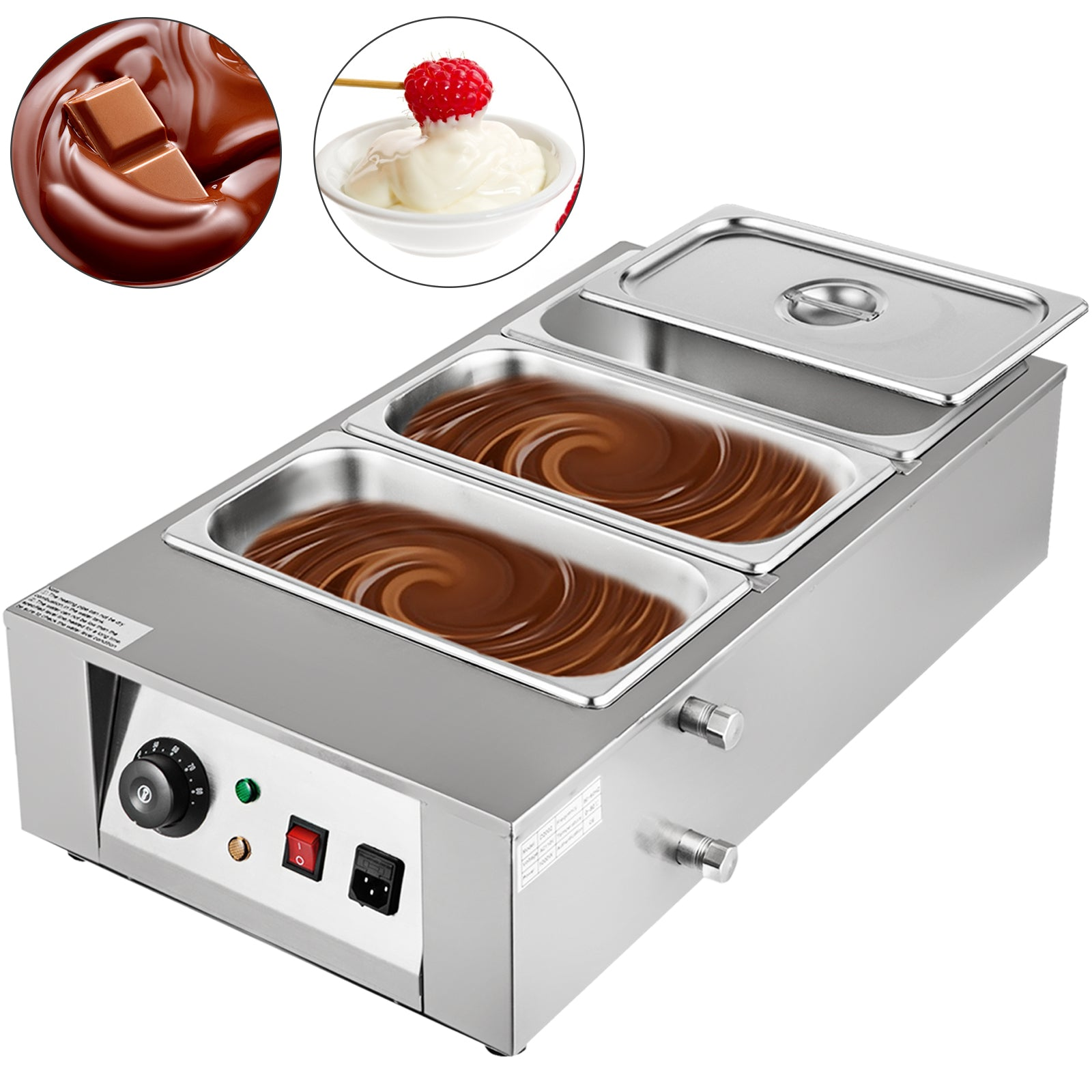 1kw Electric Chocolate Melting Pot Machine 3 Tanks 26.45lbs Capacity Commercial