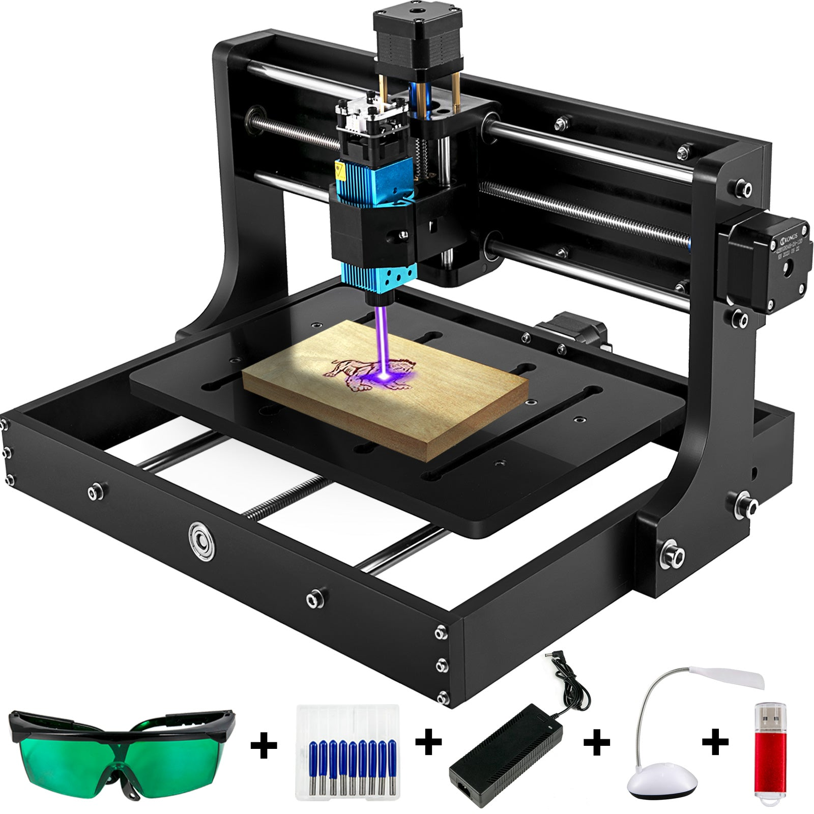Vevor Cnc 3020 Router Mini Laser Engraver 15000mw Laser Head Diy Plastic Wood Us