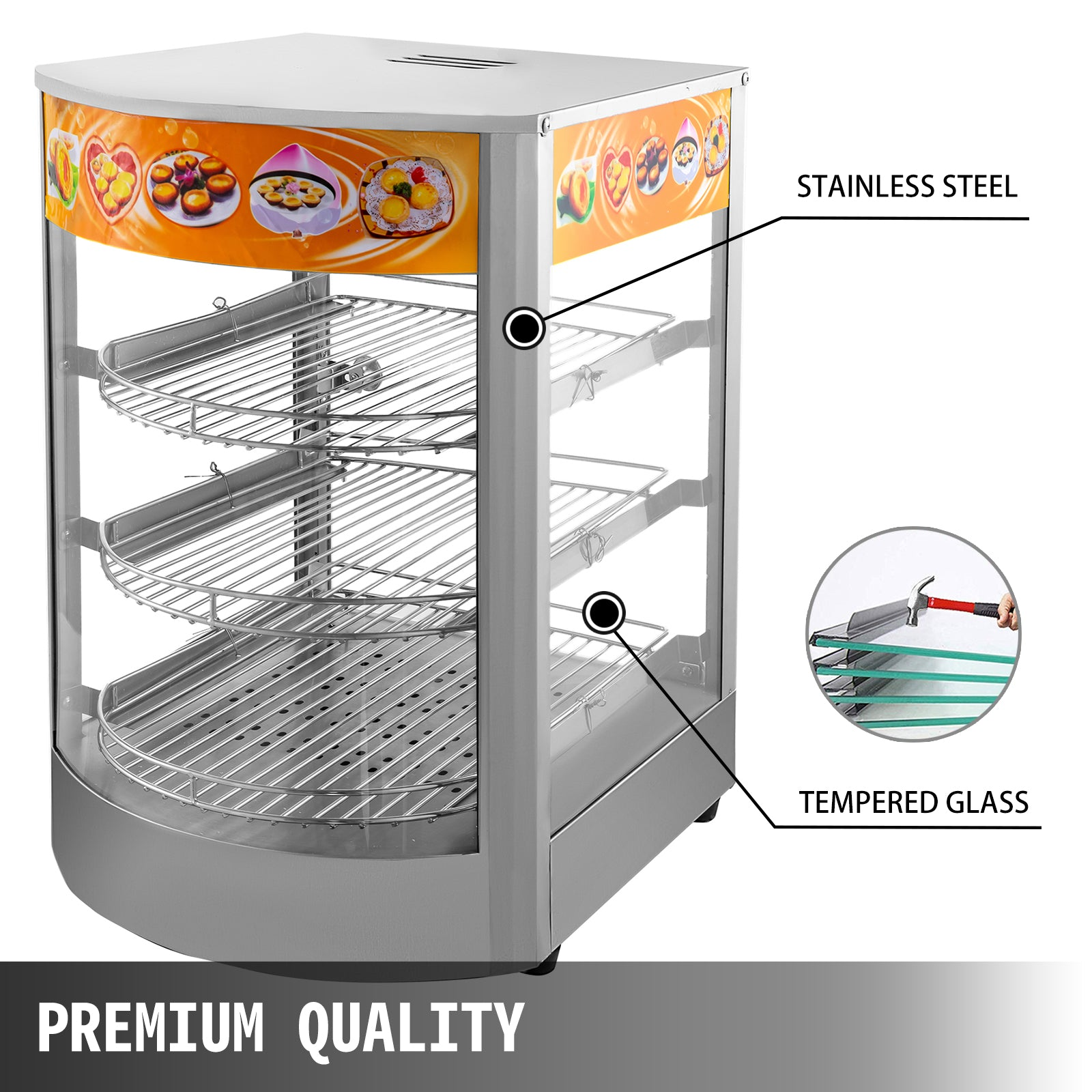 "Commercial Food Warmer Court Heat Food Pizza Display Warmer Cabinet 14"" Glass"
