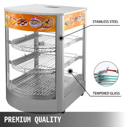 Commercial Food Warmer Court Heat Food Pizza Display Warmer Cabinet 26