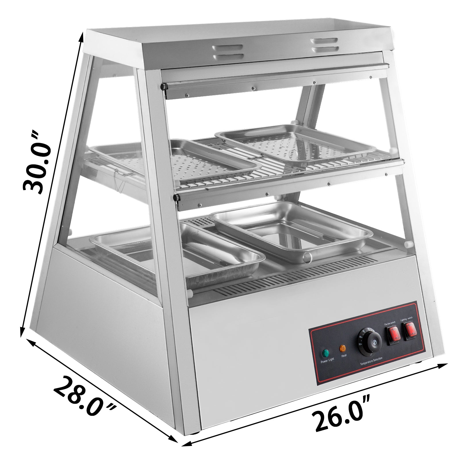 "2 Tiers Commercial Food Warmer Cabinet 27""x25""x30"" Countertop Pizza Display Case"