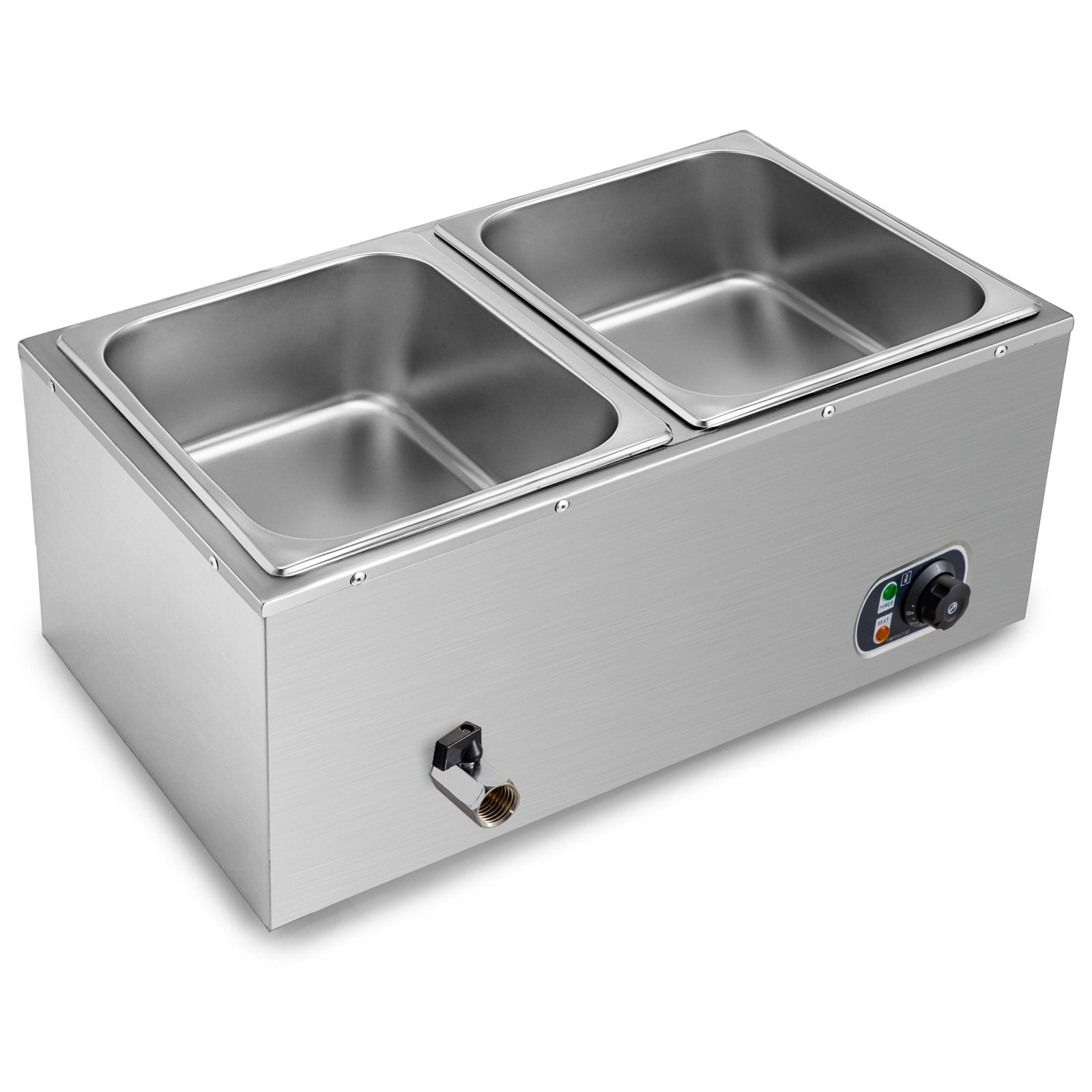 Bain Marie Food Warmer 2pans 850w Buffet Steam Table Steamer Wet Heat Countertop