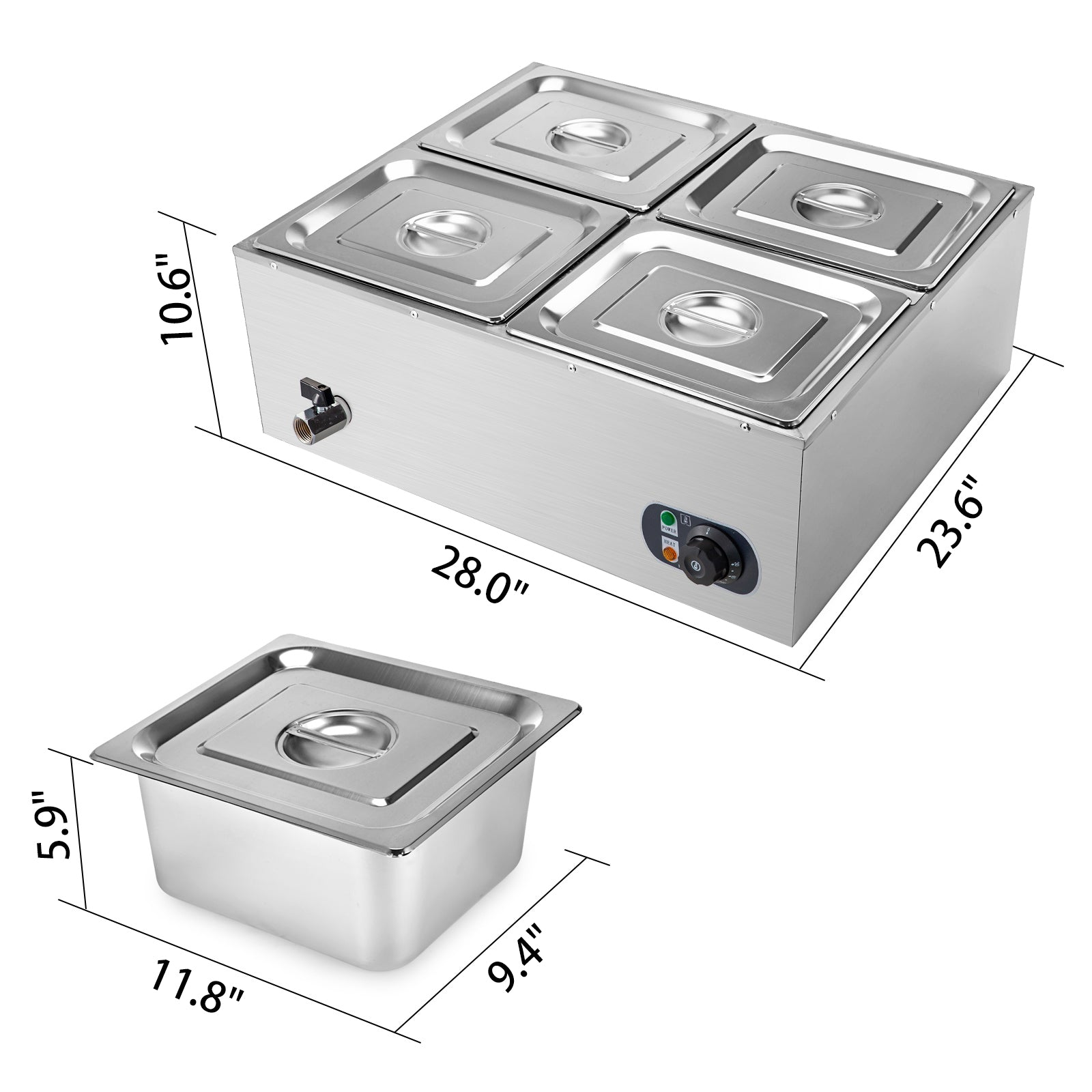 4-pan Food Warmer Bain Marie Steam Table Steamer Wet Heat 4 Sections Countertop