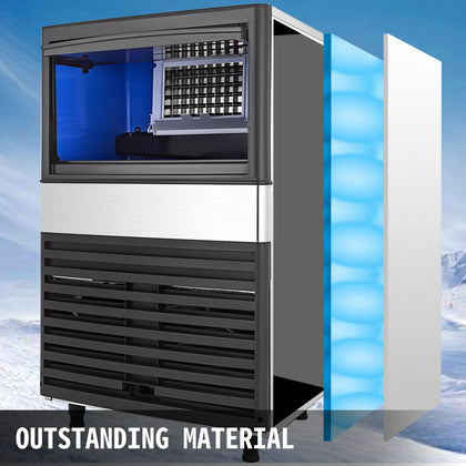 55kg/24hrs Commercial Ice Maker Ice Cube Making Machine 120lbs Nano Sterilizing