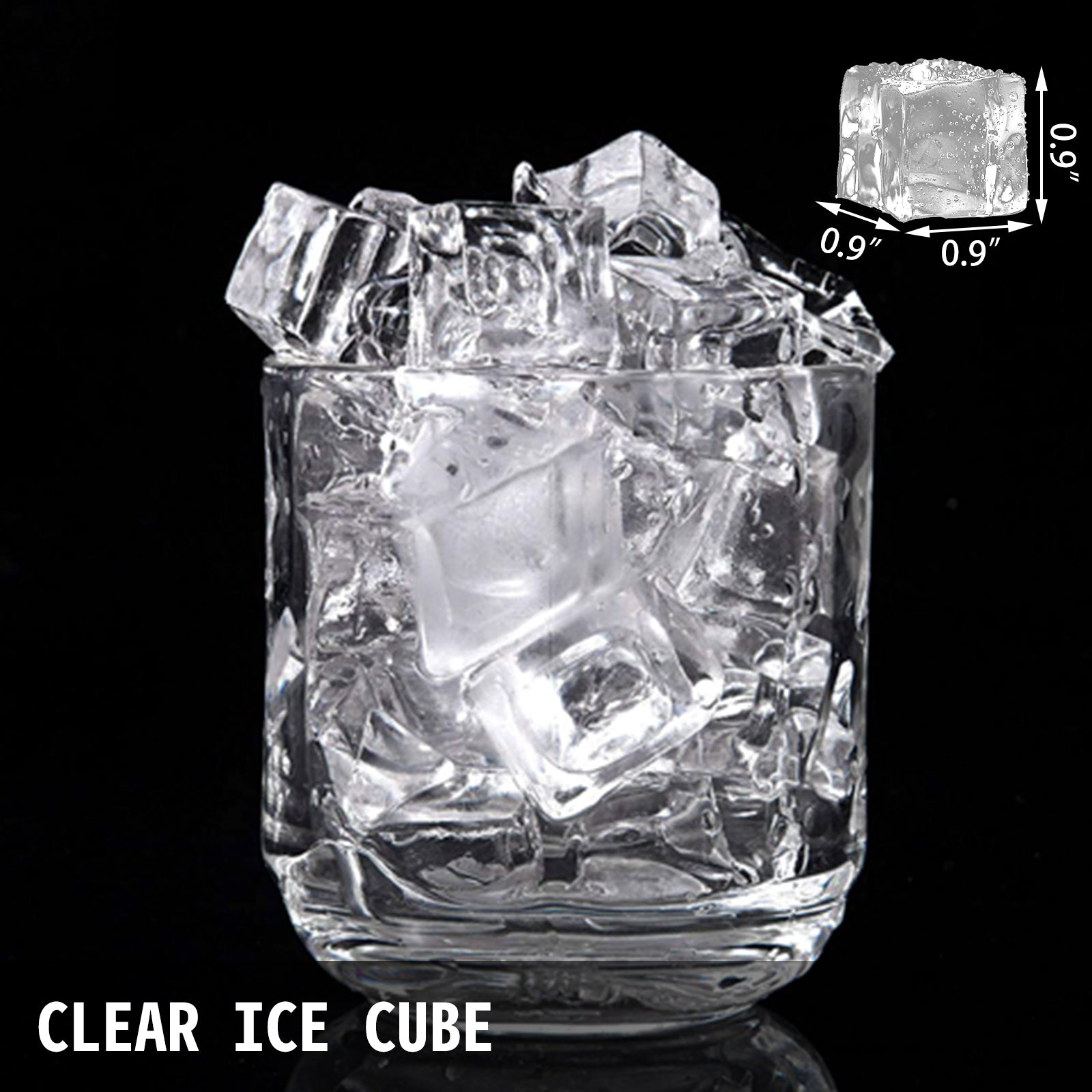 40kg/88lbs Commercial Ice Cube Making Machine 5*8 Ice Tray One Key Clean R134a