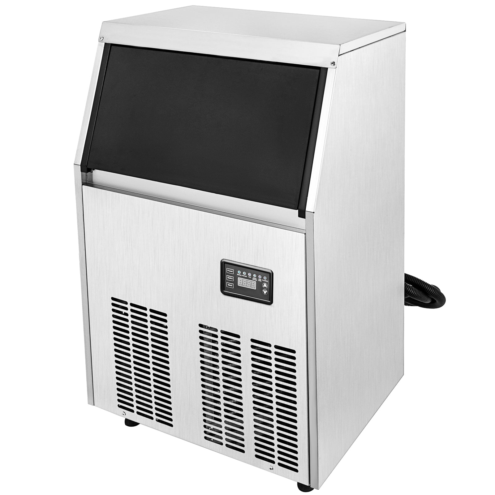 60kg Commercial Ice Maker Ice Cube Maker Ice Cream Maker 132lbs 24hrs Steel Auto