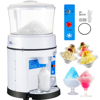 Commercial Ice Shaver Ice Crusher 1100lbs/h Snow Cone Maker 17.6lbs Hopper 350w