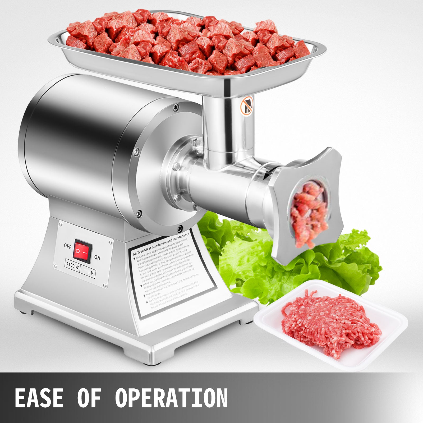 Commercial Grade 1hp Electric Meat Grinder 750w Stainless Steel Heavy Duty \