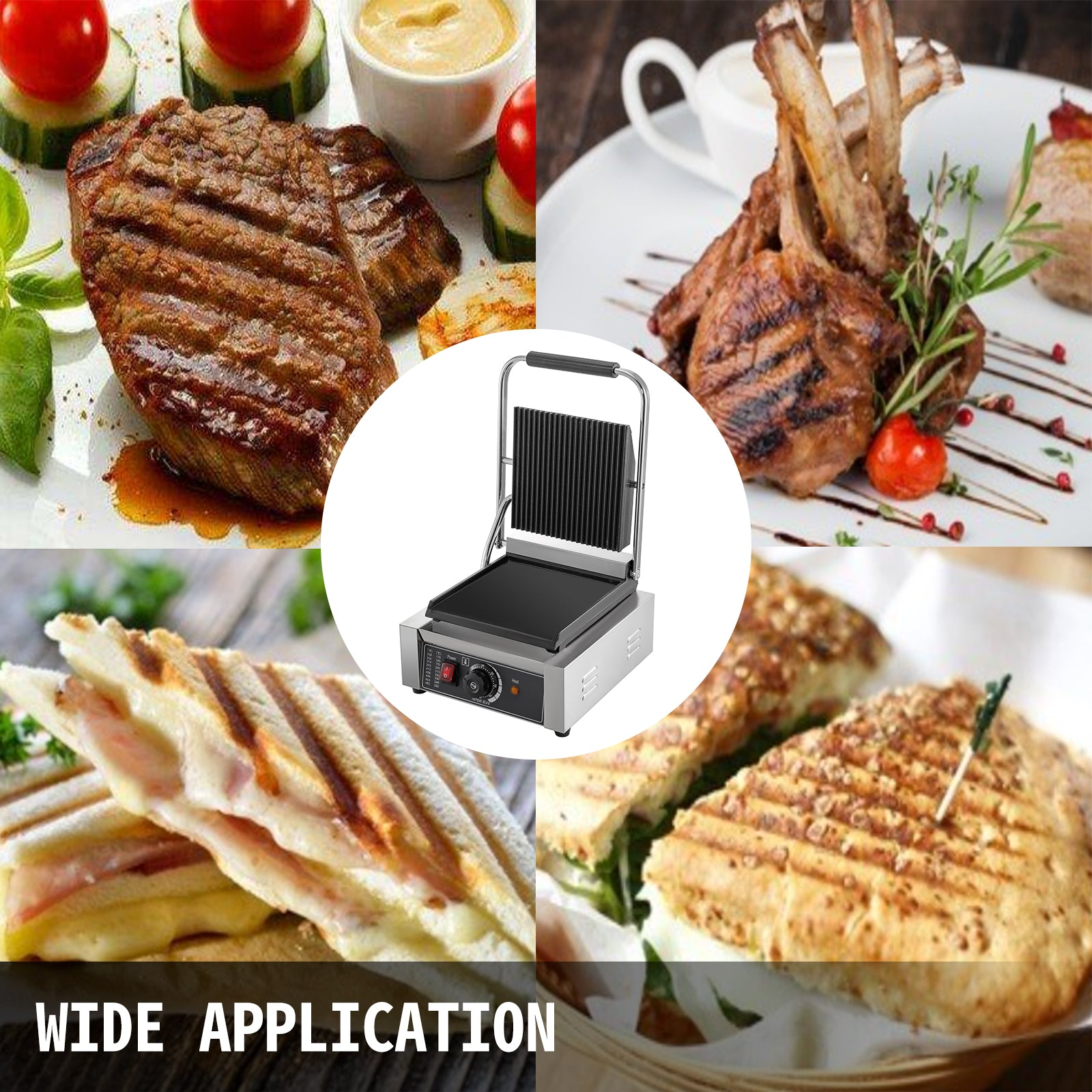 Commercial Sandwich Press Grill Griddle Panini Maker Grooved Flat Nonstick 1800w