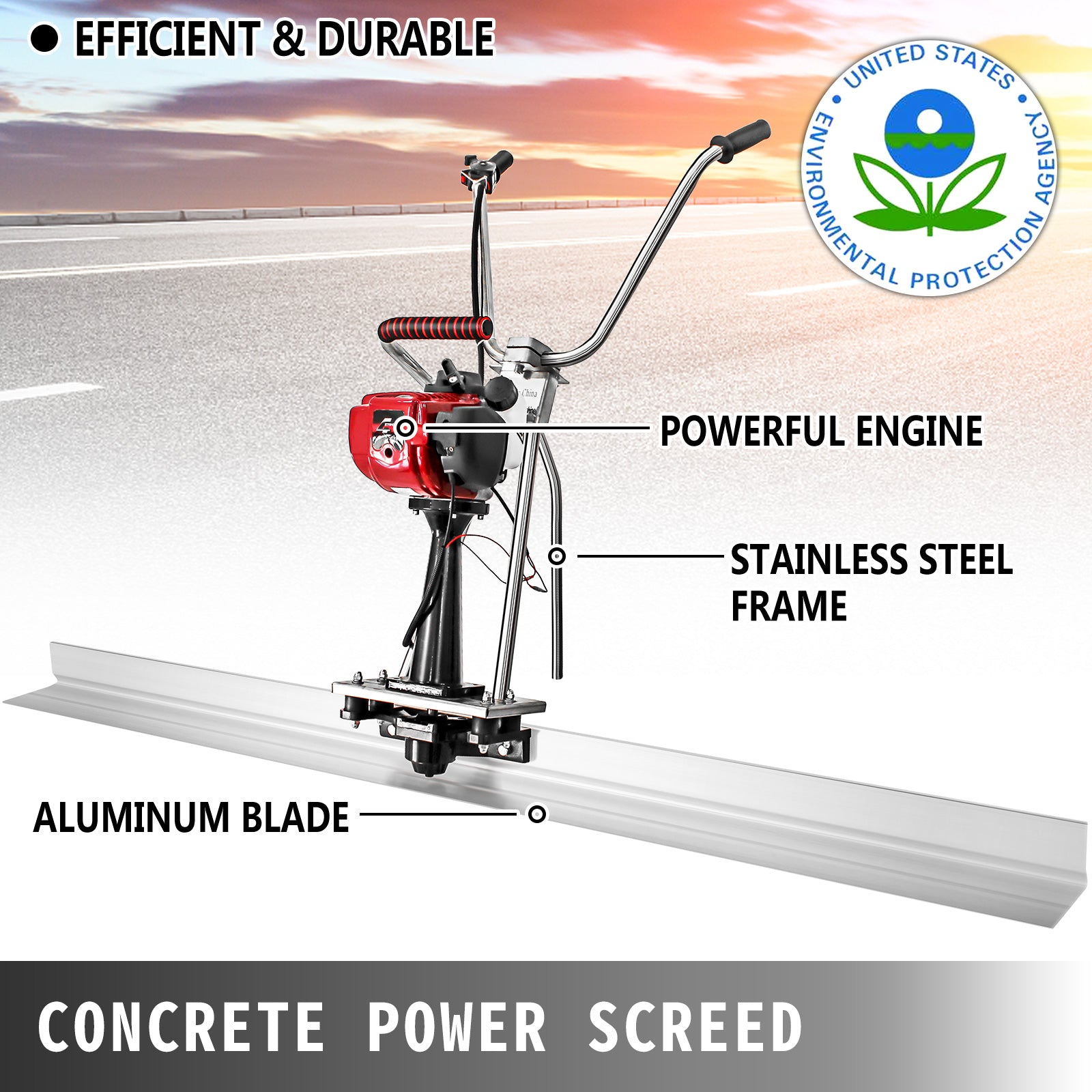 Power Screed Concrete Finishing Tool 8' Blade Board 37.7cc Gas Vibrating Screed