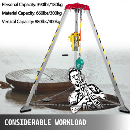 Confined Space Tripod Safety Tripod With 2600lbs Winch Rescue Tripod 7ft Legs