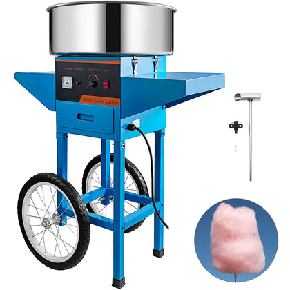 Electric Cotton Candy Machine Commercial Sugar Floss Maker With Cart Blue Ss