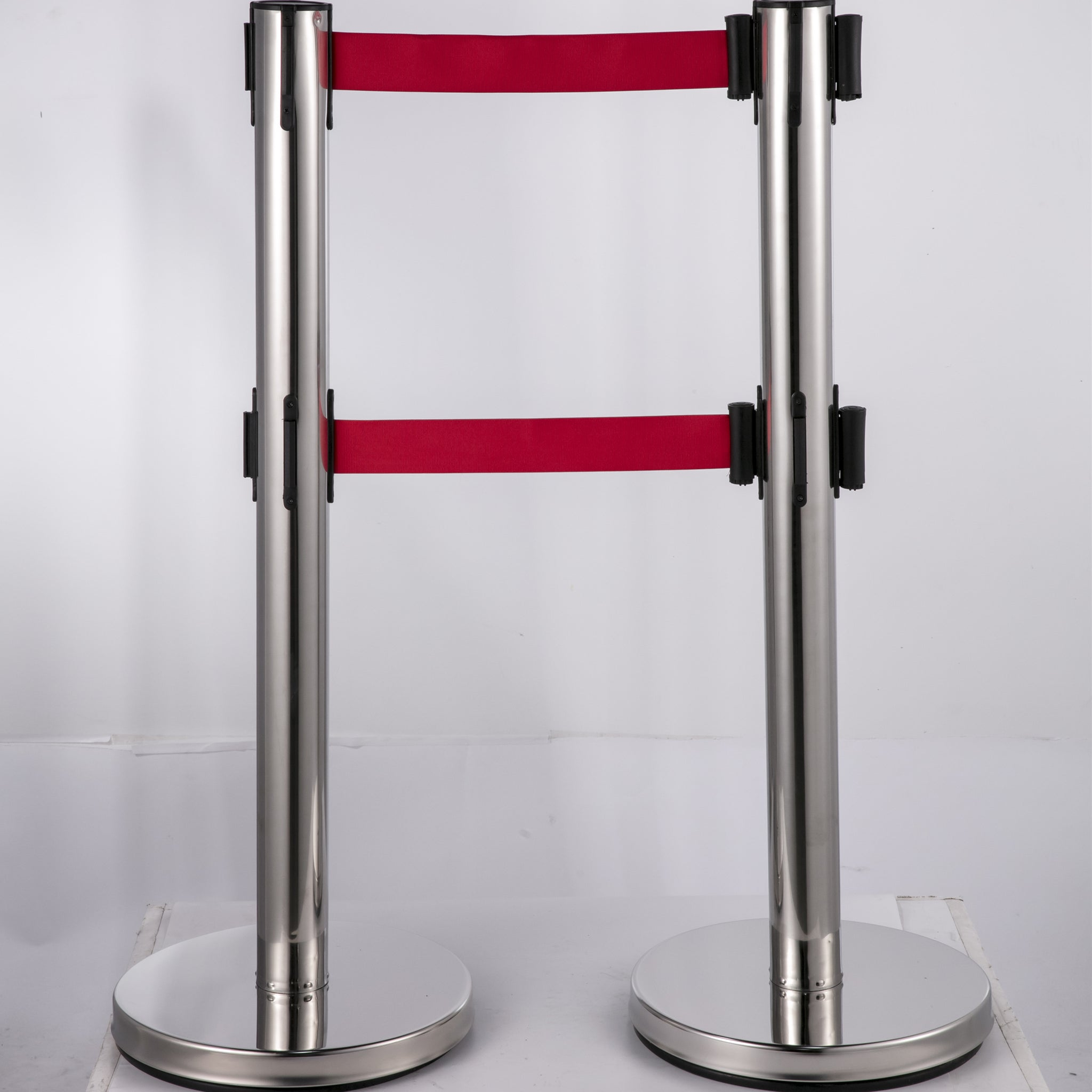 Vevor Crowd Control Barriers Line Dividers With Dual Red Belts Iron Base 6 Pcs