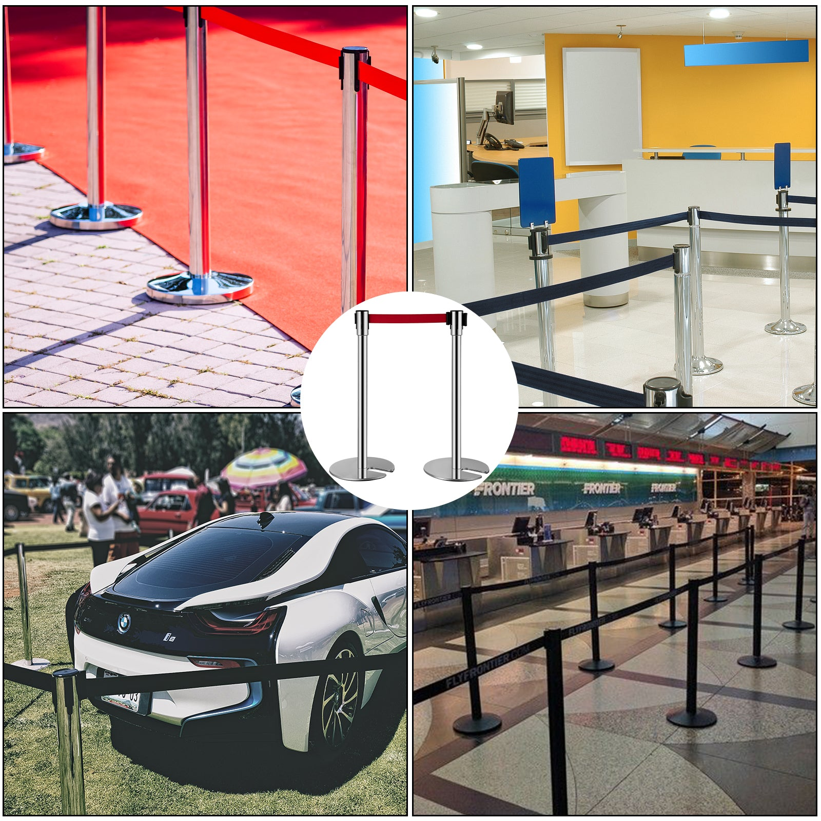 Vevor Crowd Control Barriers Line Dividers With 6.6ft Red Retractable Belts 4pcs