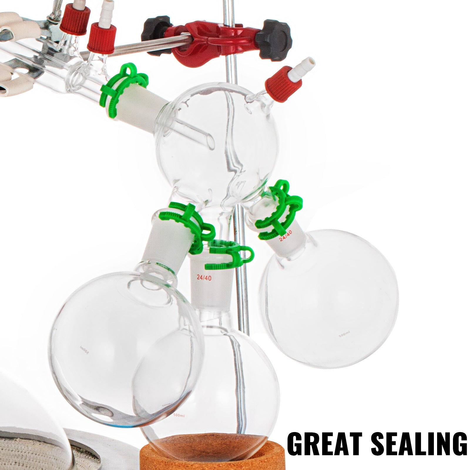 2000ml Short Path Distillation Kit Lab Glassware With Cold Trap & Heating Mantle