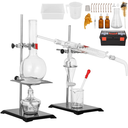 500ml Lab Essential Oil Distillation Pure Water Apparatus Glassware Kits Us